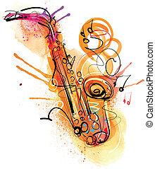 watercolor, sketchy, saxofone