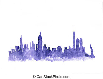 Watercolor skyline of new york city in USA