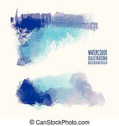 watercolor, slag, set, achtergronden, kleurrijke