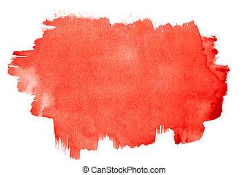 watercolor, slagen, borstel, rood