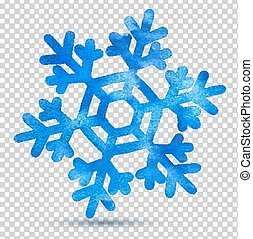 Vector watercolor illustration of snowflake.