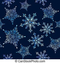 Watercolor snowflakes seamless pattern