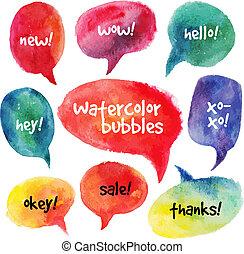 Watercolor speech bubbles set. Vector illustrations