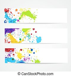 Watercolor splash banners