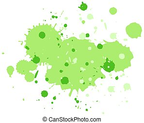 Watercolor splash in green on white background