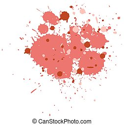 Watercolor splash in red on white background