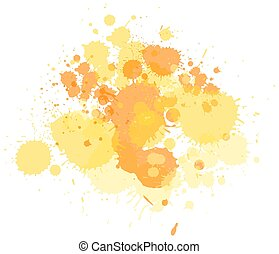 Watercolor splash in yellow on white background