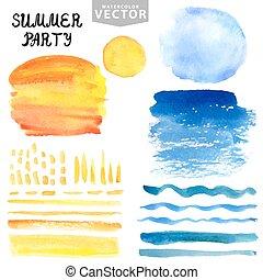 Watercolor splash,brushes set.Blue,yellow.Summer vacation