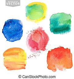 Watercolor splashes.Summer,holiday set. Bright colors