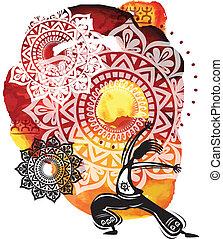 watercolor, splatters, figuren, achtergrond, dancing
