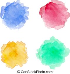 Watercolor spots set on a white background. Vector illustration