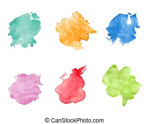 Watercolor spots set. Realistic bright colorful stains.