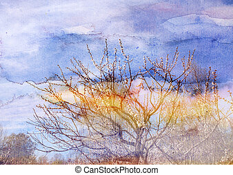 Watercolor spring trees