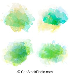 Watercolor stains set isolated on white background