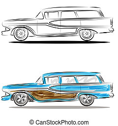 Watercolor Station Wagon Line Art - An image of a watercolor...
