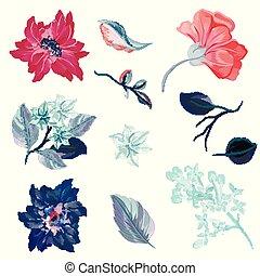 watercolor, stijl, vector, bloemen, verzameling