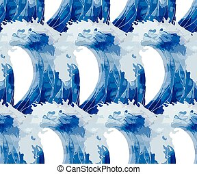 Watercolor  storm waves pattern