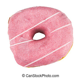 Watercolor strawberry donut isolated on white background. Top view