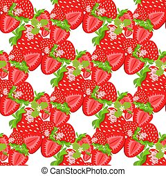 Watercolor strawberry on white background. Seamless pattern. Vector illustration