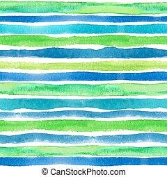 Watercolor strips seamless pattern border. Blue, green, ...