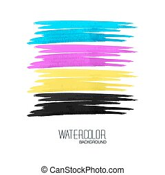 watercolor strokes on white paper. CMYK design
