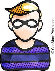 Watercolor style icon Burglar