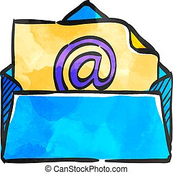 Watercolor style icon Email