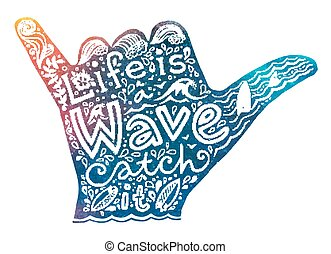 Watercolor style surfer shaka silhouette with white hand...