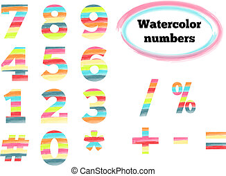 Watercolor styled numbers and symbols