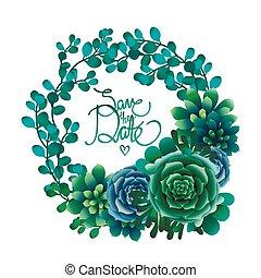 watercolor, succulent, krans