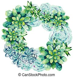 Watercolor succulent wreath isolated on white background....