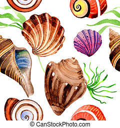 Watercolor summer beach seashell tropical elements pattern, underwater creatures.