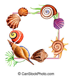 Watercolor summer beach seashell tropical elements frame, underwater creatures.