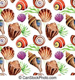 Watercolor summer beach seashell tropical elements pattern, underwater creatures.