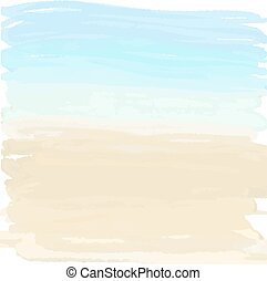 sand and ocean - Watercolor summer illustration of sand and...
