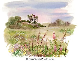 Watercolor summer rural landscape