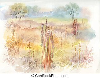 Watercolor summer rural landscape illustration.