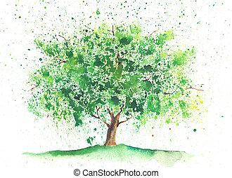 Watercolor summer tree