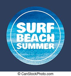 watercolor Surf typography, t-shirt graphics print, vectors
