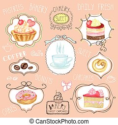 Watercolor sweet cakes label set.Cafe logo