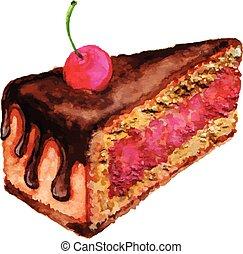 watercolor, taart, ontwerp, kers, element