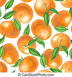 Watercolor tangerines pattern - Seamless pattern made of...