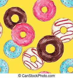 Beautiful seamless vector pattern with watercolor hand drawn tasty donuts