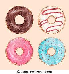 Watercolor tasty donuts vector set