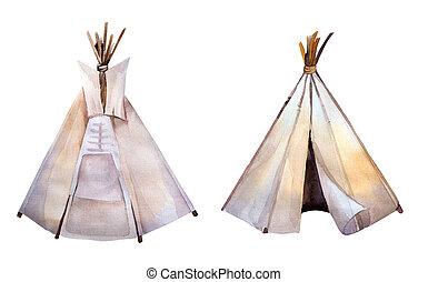 Watercolor teepee. Boho syle images.Ethnic america. -...