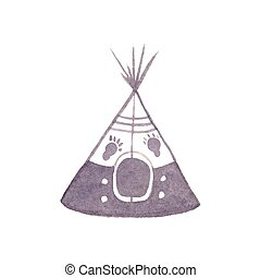 Watercolor teepee on the white background, aquarelle. Vector illustration. Hand-drawn decorative element useful for invitations, scrapbooking, design. Native american stylization