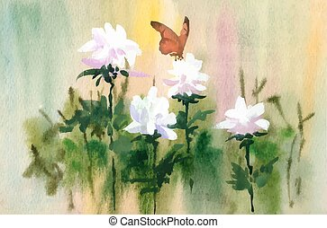 Watercolor tender flowers and butterfly on meadow.
