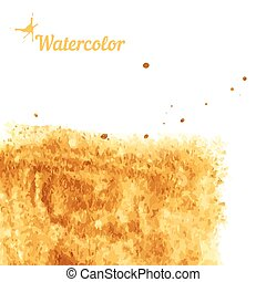 Watercolor texture gold on a white background