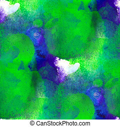 watercolor texture green blue painting background with blots...