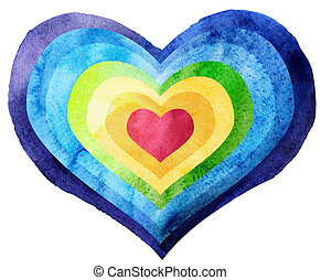 Watercolor textured rainbow heart